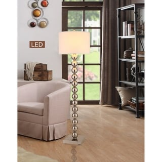 "Artiva USA  COSIMO 61"" Brushed Steel Balls LED Floor Lamp w/ Dimmer"