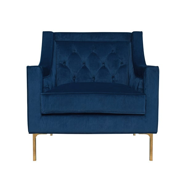 Nolan Navy Velvet Club Chair By Kosas Home   Free Shipping Today    Overstock.com   23913885