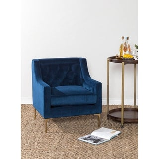 Nolan Navy Velvet Club Chair by Kosas Home
