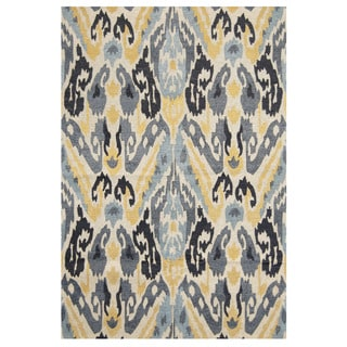 "Handmade Chenille Ikat Flatweave Rug (India) - 6'6"" x 9'6"""