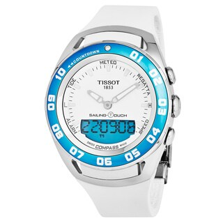Tissot Men's T056.420.27.011.00 'Sailing Touch' White Dial White Rubber Strap Multifunction Digital Swiss Quartz Watch