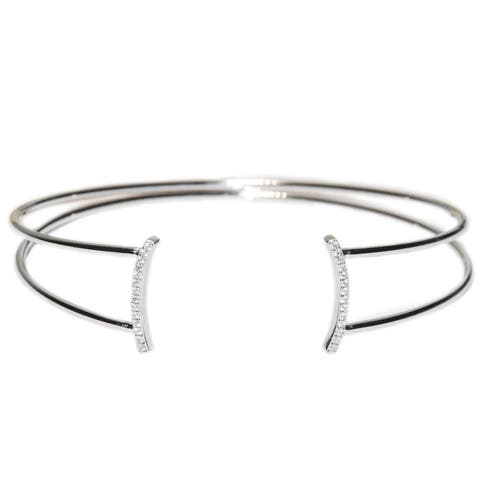 Kabella Sterling Silver curved bars cubic zirconia cuff bangle