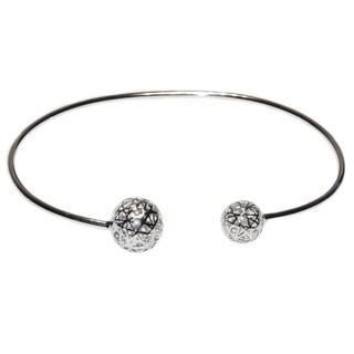 Geometric Ball Sterling Silver Stackable Bangle Bracelet