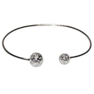 Geometric Ball Sterling Silver Stackable Bangle Bracelet