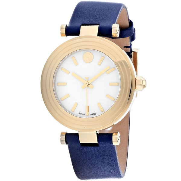01fd65a50406 Shop Tory Burch Women s TB9001  Classic T  Blue Leather Watch - White - Free  Shipping Today - Overstock - 17708642