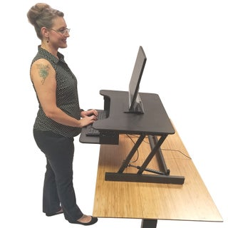 """Boonliving Adjustable Desk Sit & Stand Computer Riser for Home and Office - Ergonomic Workstation with Keyboard Tray, 31.5"""" Wide (Option: Black)"""