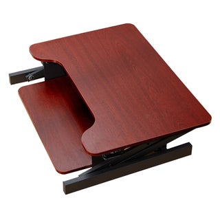 """Boonliving Adjustable Desk Sit & Stand Computer Riser for Home and Office - Ergonomic Workstation with Keyboard Tray, 31.5"""" Wide (Option: Cherry)"""