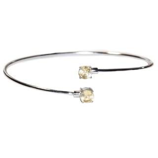 Kabella Sterling Silver Citine Birthstone Gemstone Bangle Bracelet - YELLOW