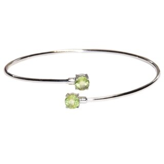 Kabella Sterling Silver Peridot Birthstone Gemstone Bangle Bracelet - Green