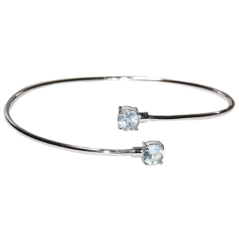 Kabella Sterling Silver Blue Topaz Birthstone Gemstone Bangle Bracelet