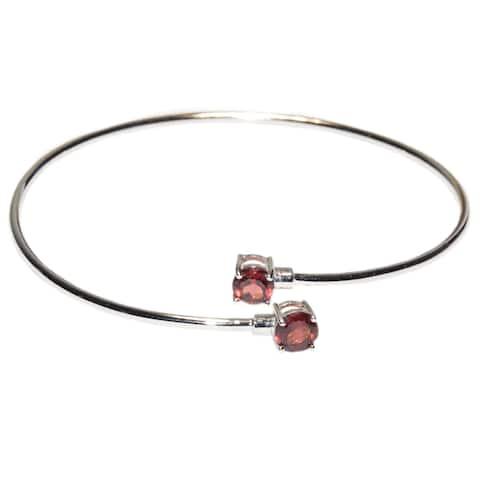 Kabella Sterling Silver Garnet Birthstone Gemstone Bangle Bracelet - Red