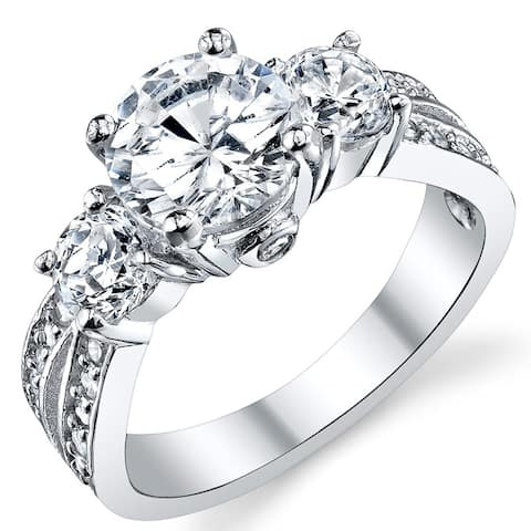 "Oliveti Round Cubic Zirconia "" Past, Present, Future"" Sterling Silver Wedding Engagement Ring - Clear"