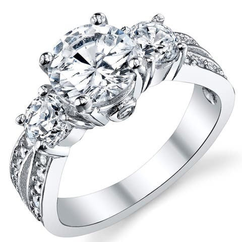 "Oliveti Round Cubic Zirconia "" Past, Present, Future"" Sterling Silver Wedding Engagement Ring"