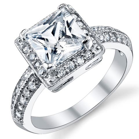Oliveti Women's Sterling Silver Princess-cut Cubic Zirconia Engagement Ring band