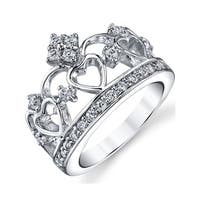 Oliveti Sterling Silver Women's Cubic Zirconia Princess Crown Tiara Ring Band - Clear