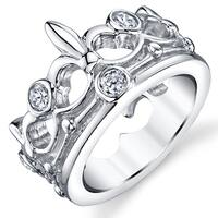 Oliveti Women's Sterling Silver Cubic Zirconia Crown Ring band - Clear
