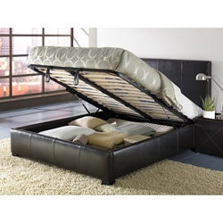 Shop Leather King Size Lift Storage Bed Free Shipping