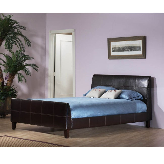 Synthetic Leather Queen-size Platform Bed with Contrast Stitching