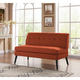 Handy Living Kingston Mid Century Modern Orange Linen Armless Loveseat
