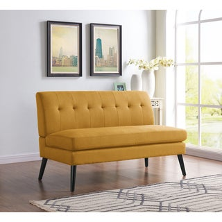 Handy Living Kingston Mid Century Modern Mustard Yellow Linen Armless Loveseat