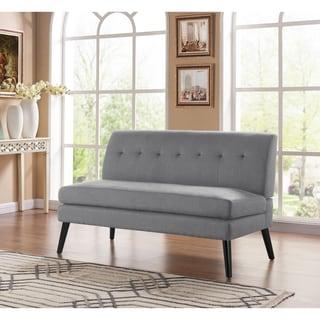 Link to Carson Carrington Tjaereborg Mid-century Modern Dove Grey Linen Armless Loveseat Similar Items in Sofas & Couches