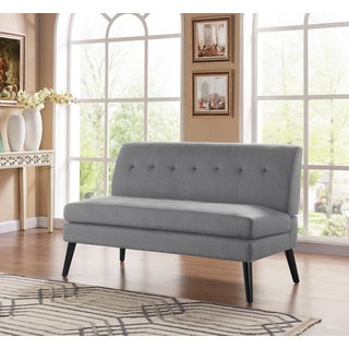 Handy Living Kingston Mid Century Modern Dove Grey Linen Armless Loveseat
