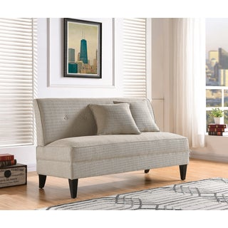 Handy Living Courtney Oatmeal Linen Armless Loveseat