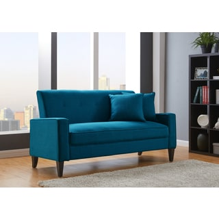 Handy Living Courtney Peacock Blue Linen Sofa