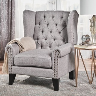 Link to Laird Winged Tufted Studded Fabric Club Chair by Christopher Knight Home Similar Items in Arm Chairs