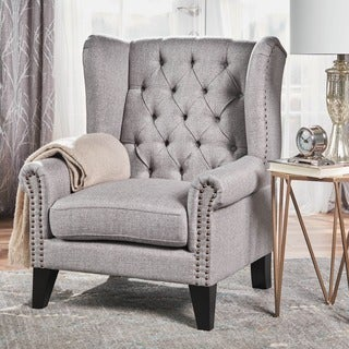 Laird Winged Tufted Studded Fabric Club Chair by Christopher Knight Home