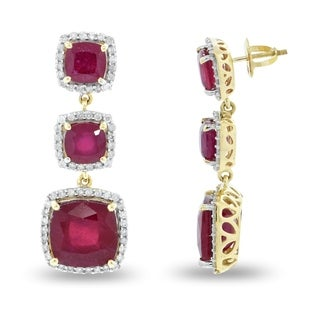 Auriya 14k Gold 18 1/2ct Ruby and 1ct TDW Diamond Earrings - Red