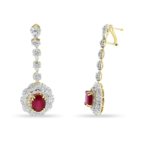 Auriya Fancy Oval-Shaped 6ct Red Ruby and 2 7/8ct TDW Diamond Dangle Earrings in 14Kt Yellow Gold