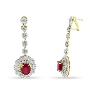 Auriya 14k Gold 6ct Ruby and 2 7/8ct TDW Diamond Earrings - Red