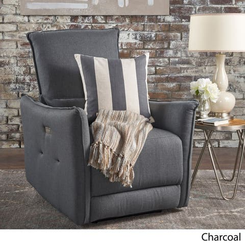 Bodhi Pillow-like Fabric Power Recliner by Christopher Knight Home