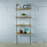 Sacramento Industrial Metal with Reclaimed Wood Finish 67-inch Tall Wall Mounted 4-shelf Open Etagere Pipe Display Bookcase