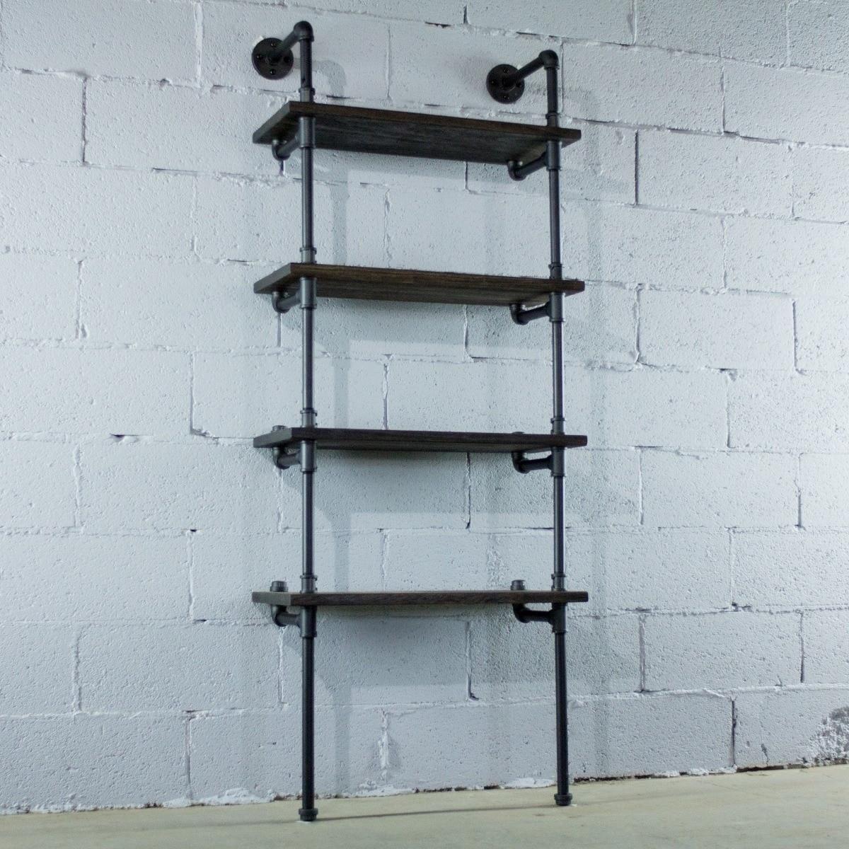 Furniture Pipeline Sacramento 4 Shelf 27 Inch 33 Inch Wide Etagere Pipe Bookcase Display