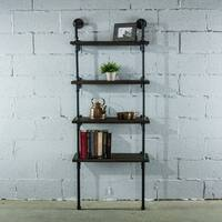 Furniture Pipeline Sacramento, 69-Inch Wall 4-Shelf 27-Inch Wide Etagere Pipe Bookcase Display-Metal Reclaimed Wood Finish