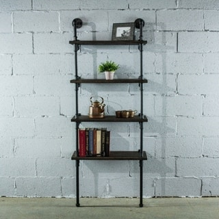 Sacramento Industrial Metal With Reclaimed Wood Finish 67 Inch Tall Wall Mounted 4 Shelf