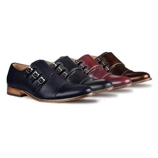 Gino Vitale Men's Triple Monk Strap Cap Toe Dress Shoes