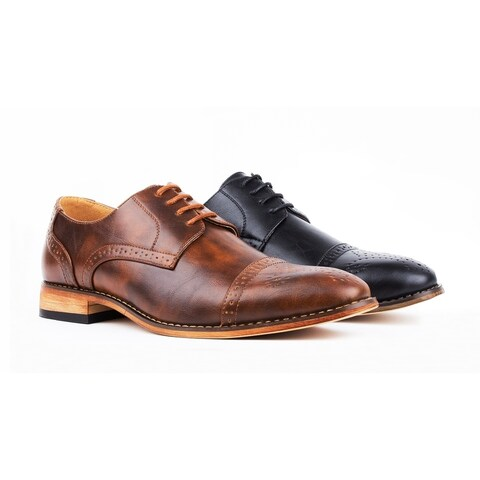 UV Signature Men's Cap Toe Brogue Lace-up Dress Shoes
