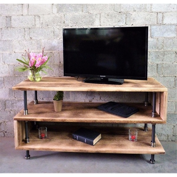 Tucson Modern Reclaimed Aged Wood Finish And Metal Tv Stand