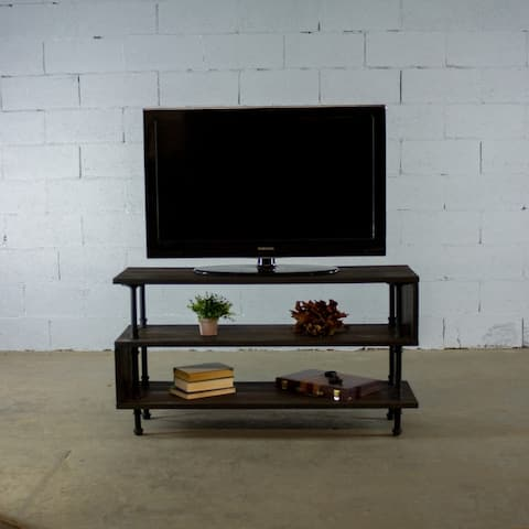 Furniture Pipeline Tucson, TV Stand Living Room Rec Room Office-Metal Reclaimed Wood Finish