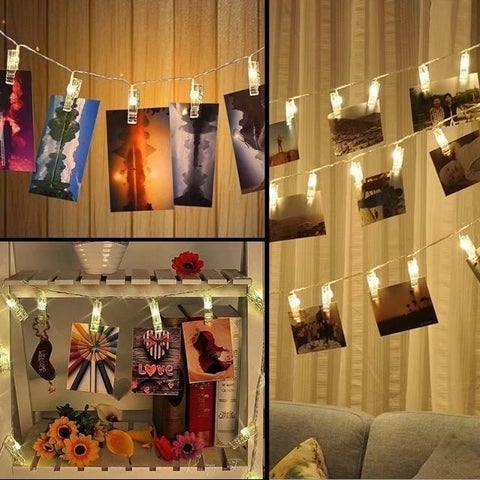 4.2m 40 LED Photo Clip String Lights Battery Operated Photo Peg Clip Light
