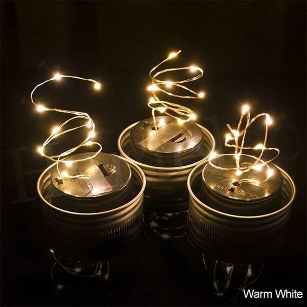 1M 10LED Solar Mason Jar Lights LED Fairy Light String Lights Garden Decor  (Bottle NOT
