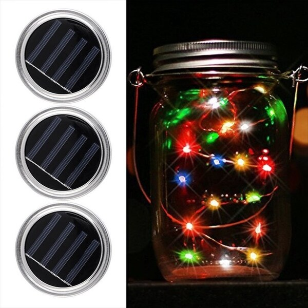 10 LED Solar Fairy Lights Mason Jar Lid Lamp Xmas Outdoor Garden Decoration 1M