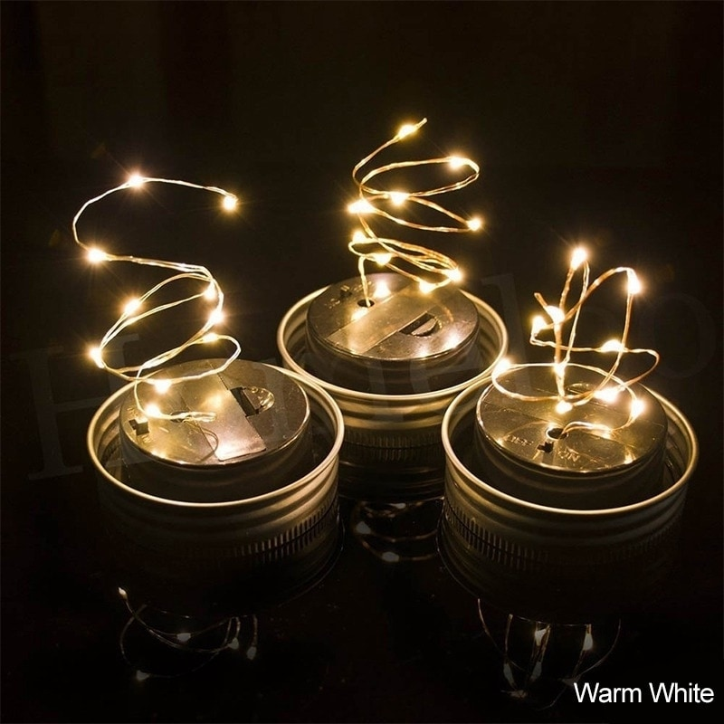 Coutlet 1M 10LED Solar Mason Jar Lights LED Fairy Light S...
