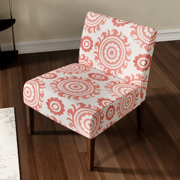 Porch U0026amp; Den Highland Alcott Pink Coral Medallion Armless Accent Chair