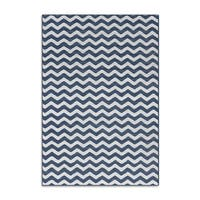 Porch & Den Williamsburg Bedford Chevron Zebra Blue/ Ivory Rug - 4' x 5'7