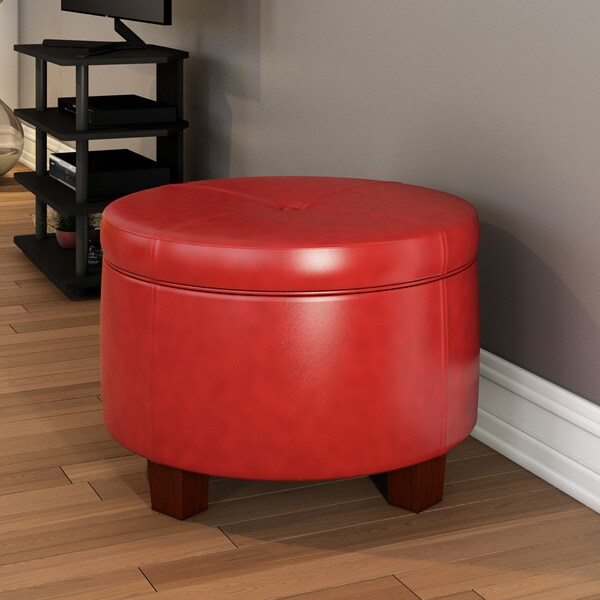 Porch U0026amp; Den Los Feliz Rowena Cinnamon Red Faux Leather Round Storage  Ottoman