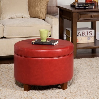 Porch & Den Los Feliz Rowena Cinnamon Red Faux Leather Round Storage Ottoman